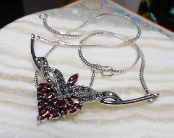 Jugendstil Silber Collier mit Granate