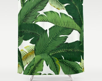 Lovely Palm Leaf Shower Curtain Banana Leaves Shower Curtain Tropical Girls  Bathroom Shower Curtain Palm Leaf Print