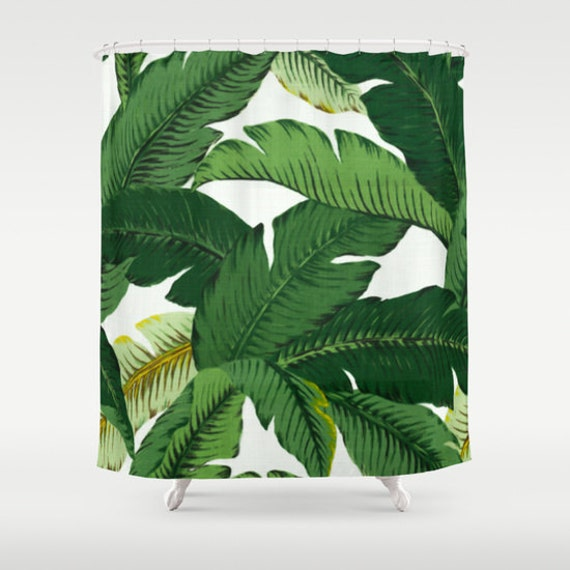 Leaf Print Shower Curtain Yellow Print Shower Curtain