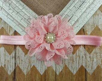 Pink flower headband, pink eyelet flower headband, pink headband, children's headband, girls headband, baby headband, Pink headband