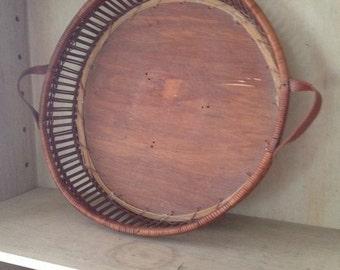 Vintage basket styled wood tray