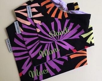 Dog Classic Tie Pet Bandana || Barkadelic Black Purple Aqua Pupdana || Ready to Ship || Personalized Puppy Gift by Three Spoiled Dogs