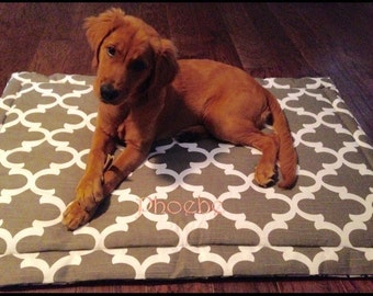 Dog Training Mat || Comfy Extra Large Crate Bed || Snappy Poppy Iceberg Blue || Brown Quatrefoil || Lilly Inspired by Three Spoiled Dogs