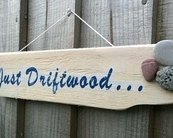 Hanging Wooden Wall Plaque Sign - 'Driftwood' & Pebbles