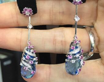 18K Blue topaz - Sapphire - Diamonds