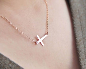 Rosegoldfilled sideways cross necklace