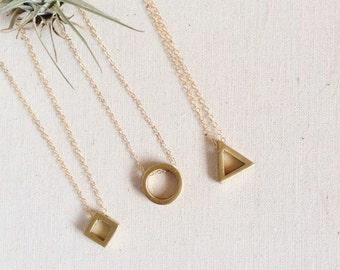 Circle, Diamond, or Triangle Necklace