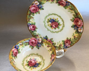 Vintage Paragon Tapestry Rose Floral Bone China Tea Cup and Saucer England