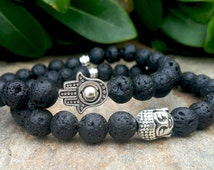 Men's Beaded Hamsa Bracelet, Mens Black Lava Rock Stone Hamsa Hand Bracelet, Prayer Mala Japa Yoga Luck, Positive Energy