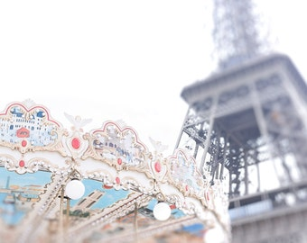 Paris Photography - Paris Photo of Eiffel Tower and traditional Parisian Carousel - Pastel Colours and creative blur - Dreamy Paris Print