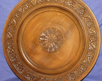 Vintage Hand Carved Round Wall Decor Tray Plate