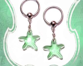 Seafoam Green Swarovski Crystal Starfish Nipple Ring Body Jewelry Pair 14G