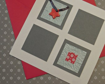Set card + envelope red and white (square)