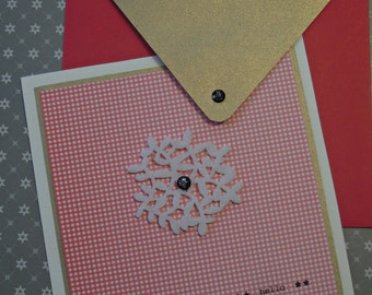 Set card + envelope red and white (vichy)