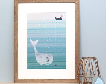 Friendly Whale Nursery Print -Whale Art - Ocean Children's Wall Art - Boat Nursery Print -Whale Illustration - Gift for New Baby