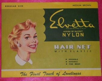 Vintage 1940's ELVETTA Medium Brown Nylon Hair Net