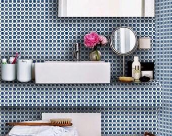 Tile Decals - Tiles for Kitchen/Bathroom Back splash - Floor decals - Mexican Dot to Dot Vinyl Tile Sticker Pack color Indigo Blue
