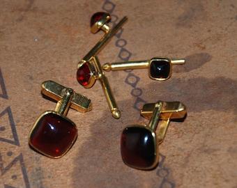 Genuine Vintage ca 1960s Formal Tuxedo Set Links & Studs Imitation Blood Ruby -- Free Shipping!