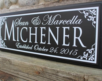 Wedding Established Sign Gift Personalized Anniversary Date