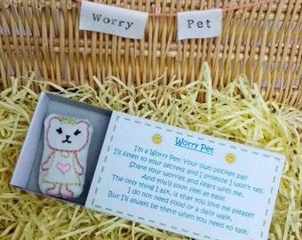 Miss.Bear Worry Pet, Hand Embroidered in box with poem