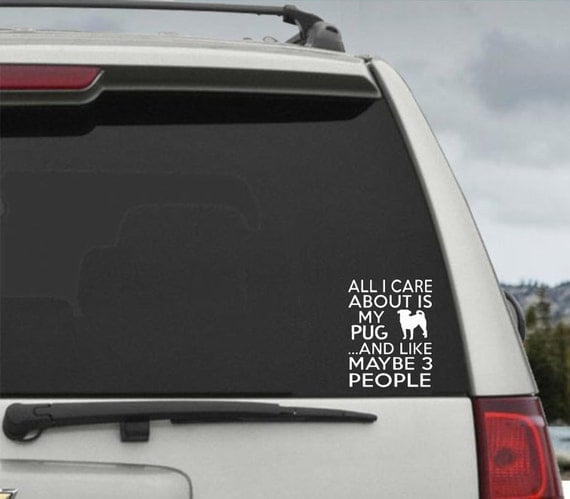 All I Care About Is My Pug and Like Maybe 3 People - Car Window Decal Sticker