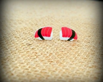 Sushi Earrings - Sushi Jewelry - Maguro Sushi - Maguro Tuna - Japanese Sushi - Chef Jewelry - Cook Earrings - Foodie Earrings - Food Fashion