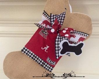 Unique Dog Bone Christmas Stocking/ Alabama Dog Stocking/Burlap Dog Bone with Bow/Unique Pet Gifts/ Dog Lover