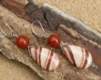 Red Jasper Earrings Gemstone Sterling Silver Leverback Statement Earrings Artisan Boho Long Dangle Earrings