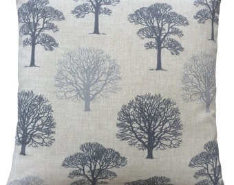 Beautiful Marson Tree design fabric in Grey made in Britain modern country  cushion cover pillow case
