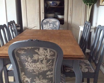 French Blue Shabby Chic Dining Table And Chairs Toile Fabric