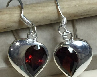 Natural 2ct Fire Garnet 925 Solid Sterling Silver Dangle Heart Earrings 26mm