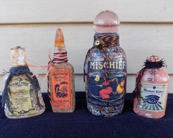HALLOWEEN POTION BOTTLES Set of 4 Primitive Apothecary 4-7 in. tall Gothic Spooky Skunk Oil, Hemlock, Mischief Potion, Second Sight Potion