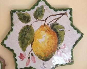 Ceramic Tile with Lemon* Mattonella Quadretto di ceramica con Limone