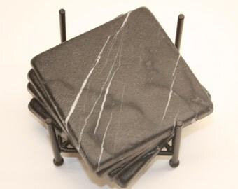 4 inch Black White Tumbled Marble Drink Stone Coasters 1 set of four w/ Wrough Iron holder
