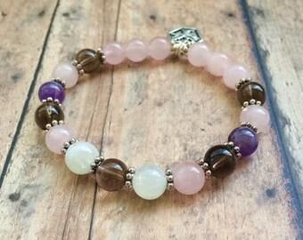 Fertility Bracelet. Pregnancy Bracelet. TTC Bracelet. Gemstone Beaded Bracelet. Moonstone Rose Quartz Bracelet
