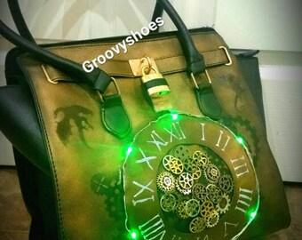 Lightup bag. Steampunk bag. Steampunk. Cogs.clockwork. clocks. Dragons. Unique. Hand designed bag.
