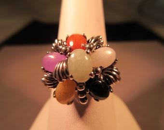 Sleek Sterling Silver Multi Gemstone Ring - 10