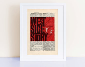 West Side Story Print on a vintage encyclopedia page (unframed) - home decor, wall art, movie poster