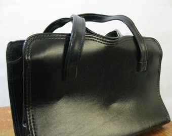 60s Black Leather Purse, Vintage Genuine Leather Structured Pocket Book Handbag
