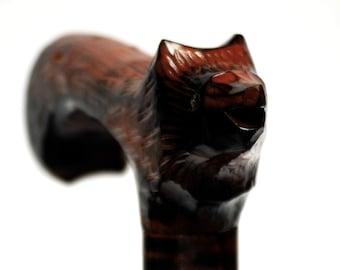 WOLF walking stick, wooden brown walking cane, wolf handle carved cane, animal wooden cane, lupus stick, straggler walking cane