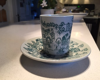 Green Danish Hoyrup Faience Nymolle cup and saucer