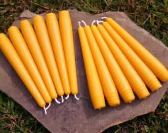 """12 - 100% Beeswax  6"""" Round Taper Candles  - Free Ship! -"""
