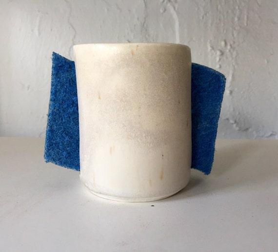 Handmade ceramic sponge holder for kitchen in modern white and pearl