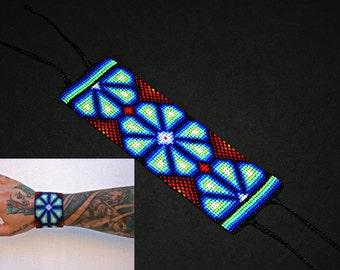 Huichol Peyote Bracelet, Native American Beaded Bracelet, Huichol Cuff Bracelet, Traditional Beadwork, Seed Bead Bracelet, Hippie Bracelet