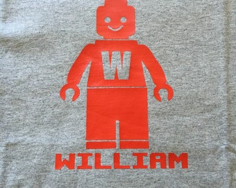Custom Lego Inspired Tee Shirt / Lego Shirt with Name / Lego Man Shirt
