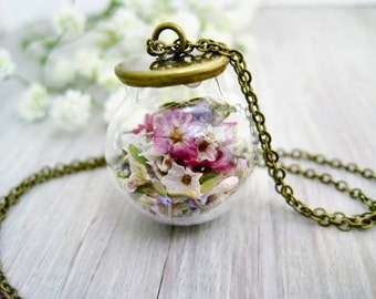 Glass ball necklace filled flowers vintage real dried flowers globe ball glass orb filled dried blossom necklace silver plated gift for her