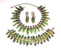 Matisse Nefertiti Jewelry 1950s Green Enamel Necklace Bracelet Earrings | Copper Jewelry