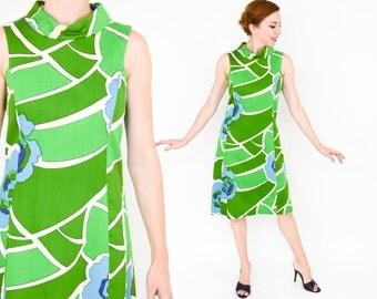 Summer SALE 60s Green Sleeveless Dress | Op Art Green Dress | A-Line Sleeveless Dress | Eva la Coq California | Medium