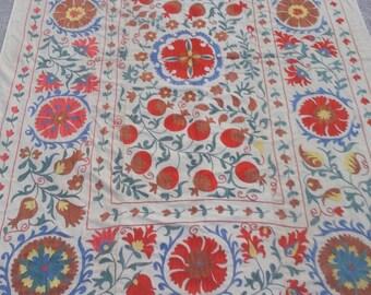 Size:7 ft by 4.10 ft Handmade Suzani Uzbak Silk and Cotton Wall Hanging Suzani Home Decor Suzani