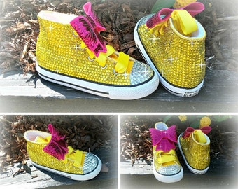 Yellow Bling Converse Shoes, Bling shoes, Custom converse, Rhinestone shoes, Birthday shoes, Toddler Shoes, Baby Bling Shoes, Converse